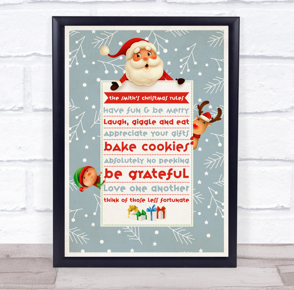 Personalised Family Name Grey Snow Christmas Rules Event Sign Print