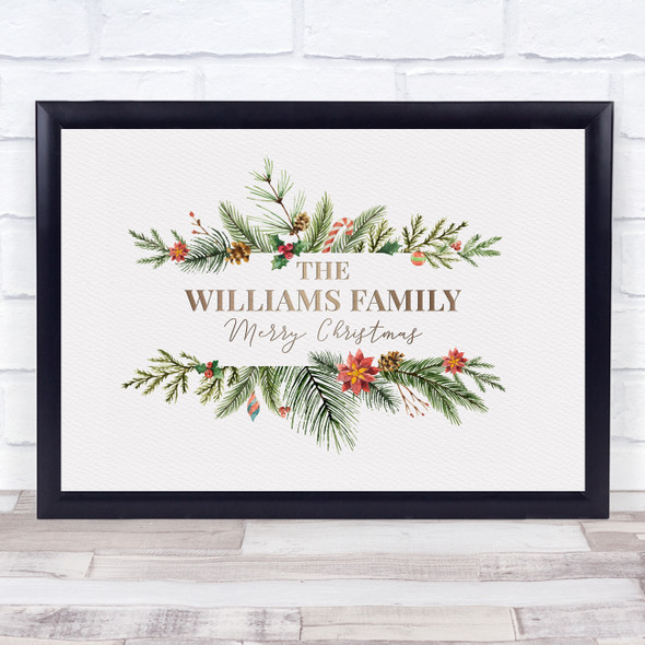 Personalised Christmas Family Name Wreath Event Sign Wall Art Print
