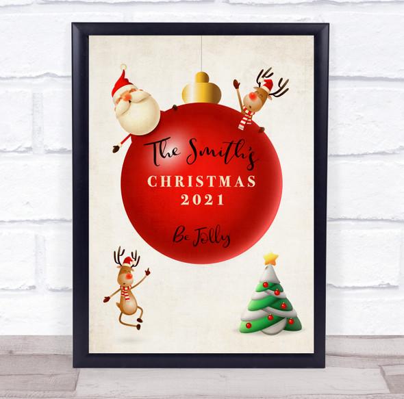 Personalised Family Name Ball  Christmas Event Sign Wall Art Print