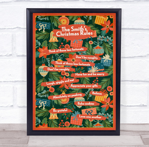Personalised Family Name Christmas Rules On Tree Event Sign Print
