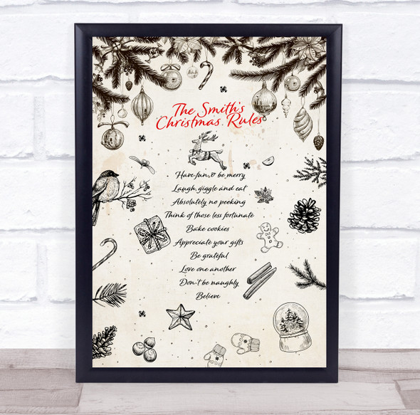 Personalised Family Name Vintage Christmas Rules Event Sign Print