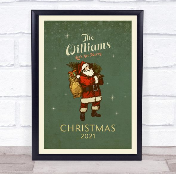 Personalised Family Name Vintage Santa Christmas Event Sign Print