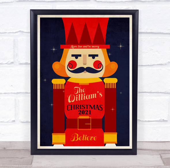 Personalised Nutcracker Family Christmas Believe Event Sign Print