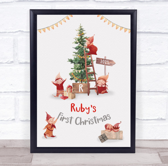 Personalised Baby First Christmas Elves Event Sign Wall Art Print