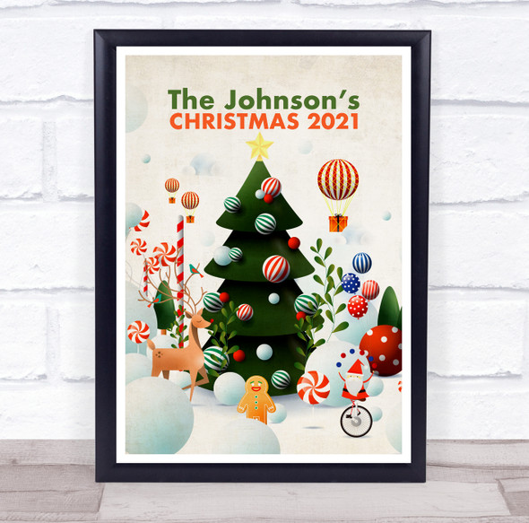 Personalised Family Name Christmas Tree Event Sign Wall Art Print