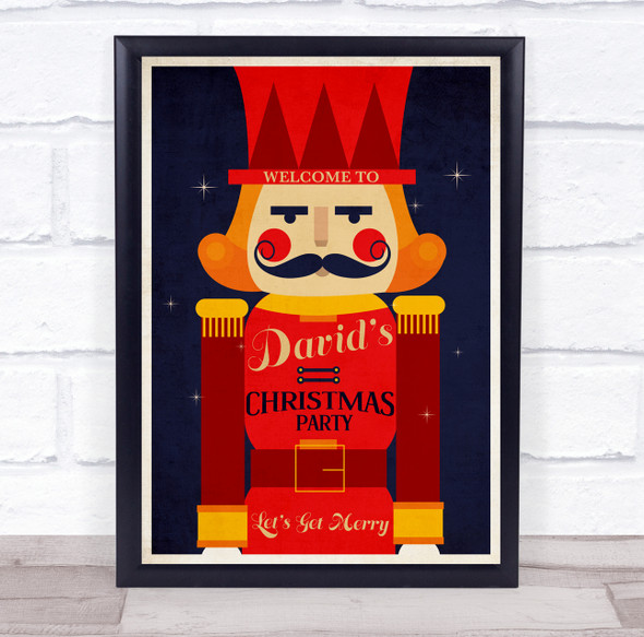 Personalised Nutcracker Christmas Party Event Sign Wall Art Print