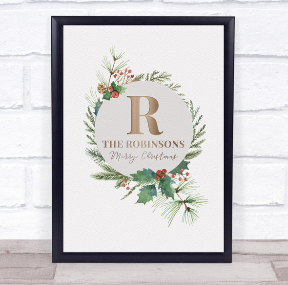 Personalised Christmas Family Name Wreath Holly Event Sign Print