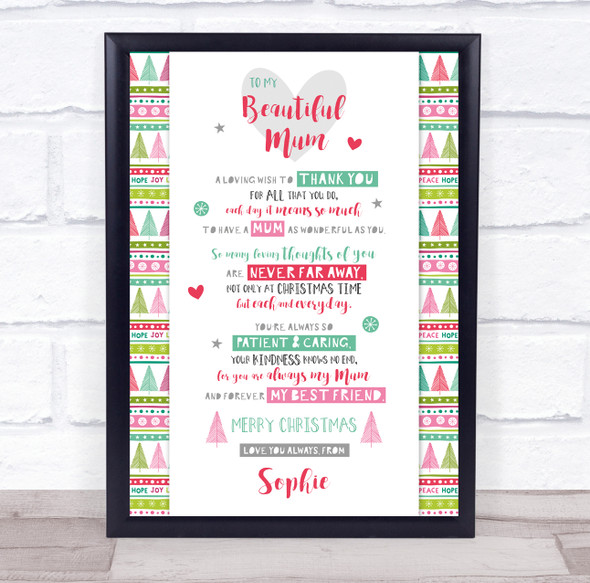 Personalised Christmas Poem Mum Colourful Trees Event Sign Print
