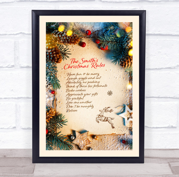 Personalised Photo Style Family Christmas Rules Event Sign Print