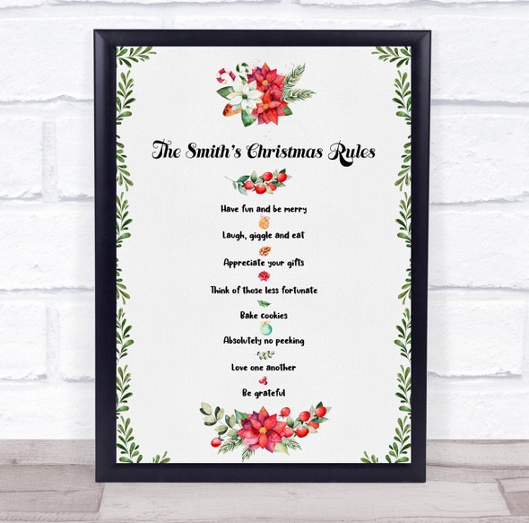 Personalised Watercolour Family Christmas Rules Event Sign Print