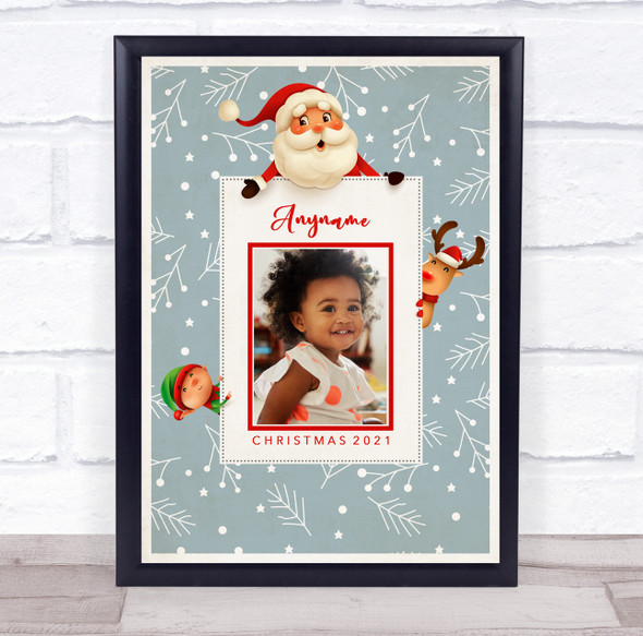 Personalised Photo Grey Snow Christmas Event Sign Wall Art Print