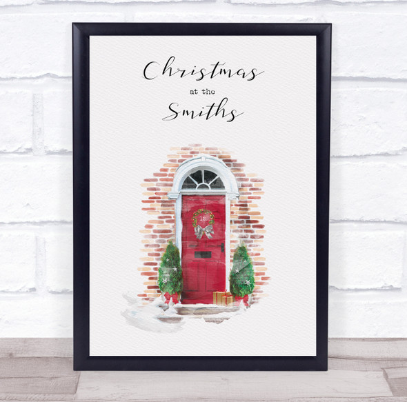 Personalised Christmas At Family Name Red Door Event Sign Print