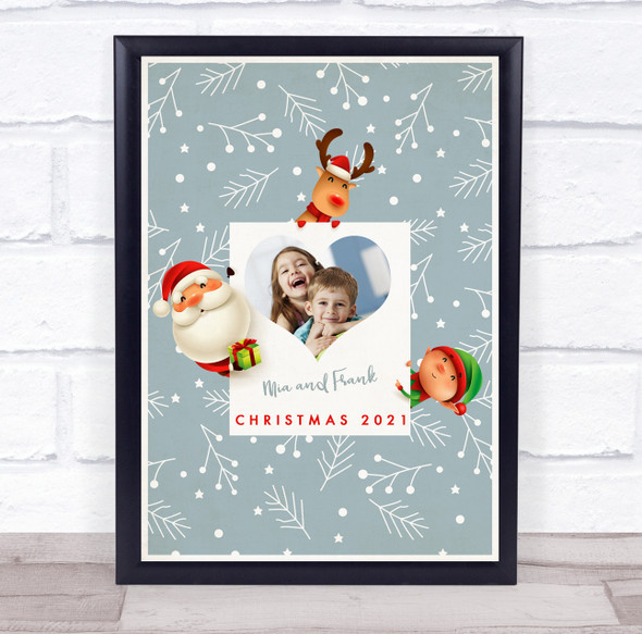Personalised Siblings Photo Christmas Event Sign Wall Art Print