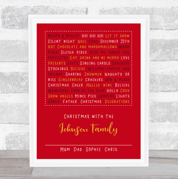 Personalised Family Christmas Typographic Red Event Sign Print