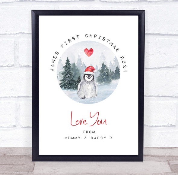 Personalised First Christmas Penguin Event Sign Wall Art Print