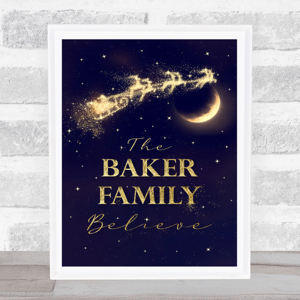 Personalised Family Believes Santa Christmas Event Sign Print