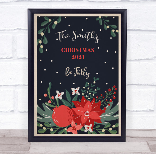 Personalised Family Name Be Jolly Christmas Event Sign Print