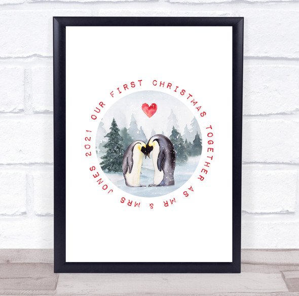 Personalised Mr Mrs Penguin First Christmas Event Sign Print