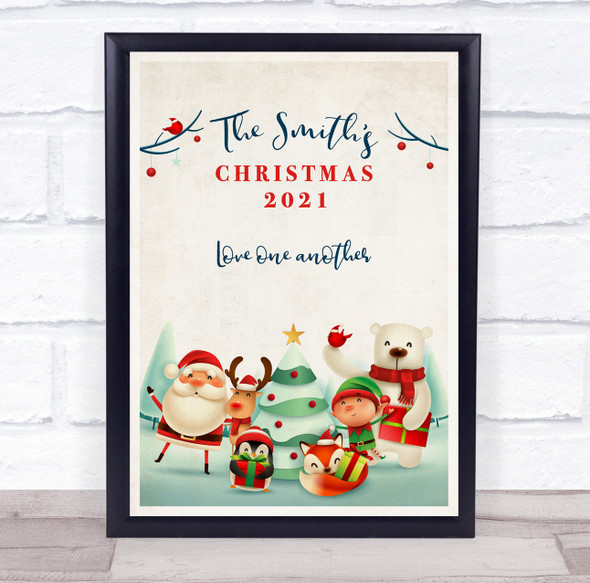 Personalised Family Name Christmas Cartoon Event Sign Print