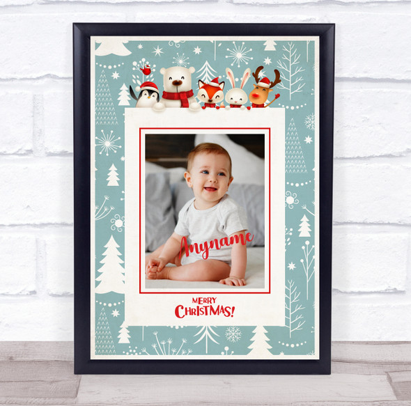 Personalised Baby Photo Christmas Event Sign Wall Art Print