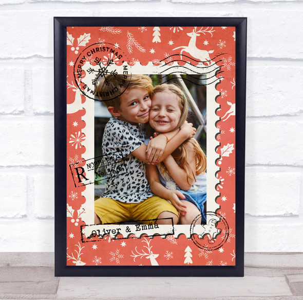 Personalised Photo Christmas Red  Event Sign Wall Art Print