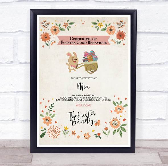 Easter Eggstra Good Behaviour Cute Flowers Small Bunny Personalised Certificate