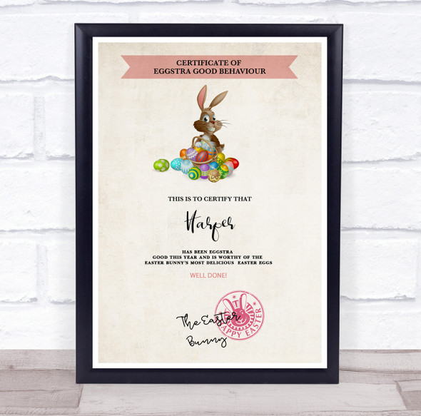 of Eggstra Good Behaviour Easter Bunny with Eggs Personalised Certificate Award