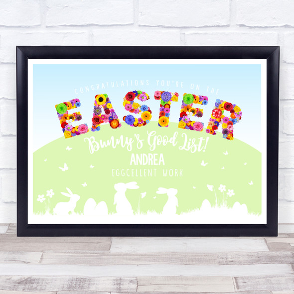 Beautiful Floral Easter Bunny's Good List Personalised Certificate Award Print
