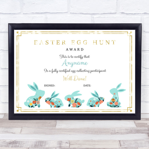 Vintage Easter Bunnies Gold Detail For Egg Collector Personalised Certificate