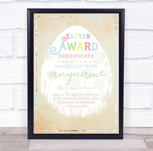 Easter Egg & Floral Gold Craft Eggcellent Work Personalised Certificate Award