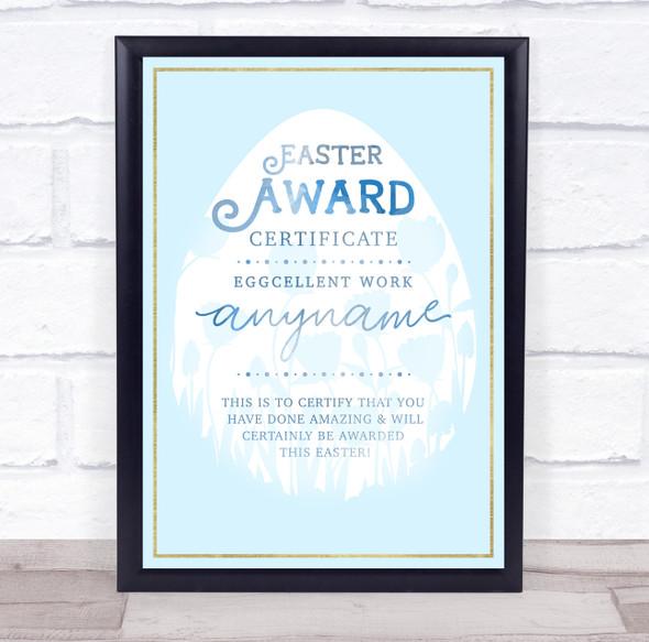 Easter Egg & Floral Light Blue Eggcellent Work Blue Personalised Certificate