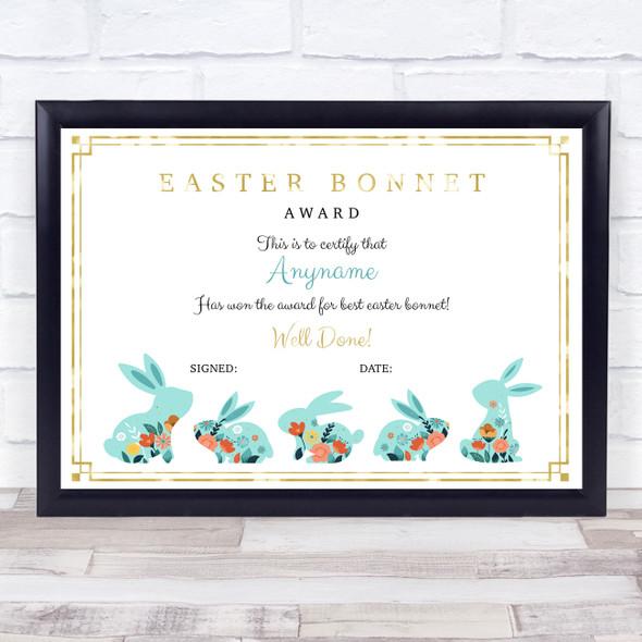 Vintage Easter Bunnies Gold Detail For Best Bonnet Personalised Certificate