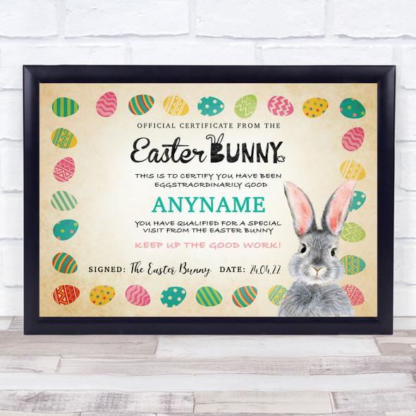 Vintage Style Easter Bunny Egg Border Personalised Certificate Award Print
