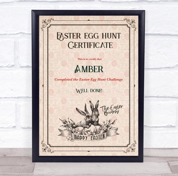 Retro Easter Egg Hunt Black Border Personalised Certificate Award Print
