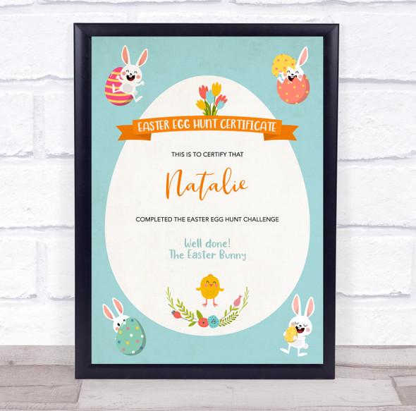Easter Egg Hunt Bunnies In Corners Personalised Certificate Award Print
