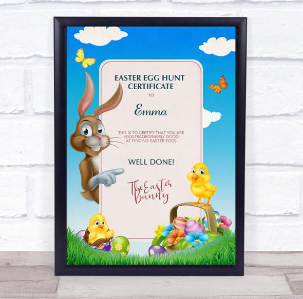 Easter Egg Hunt Sky Brown Bunny Personalised Certificate Award Print