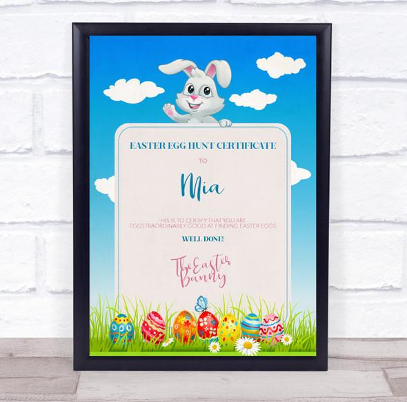 Easter Egg Hunt Sky White Bunny Personalised Certificate Award Print