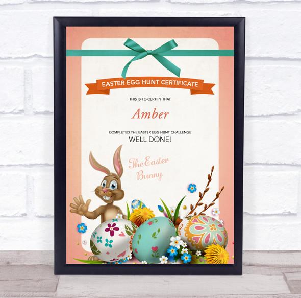 Easter Egg Hunt Peach Border Personalised Certificate Award Print