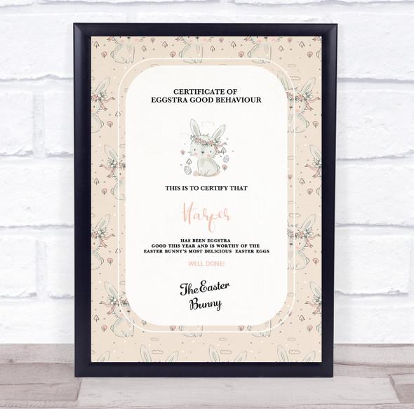 Easter Eggstra Good Behaviour Cream Personalised Certificate
