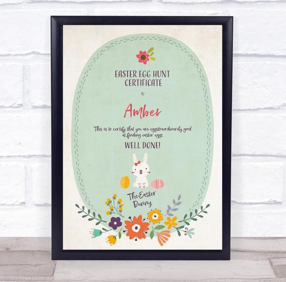 Easter Egg Hunt Flowers Personalised Certificate Award Print
