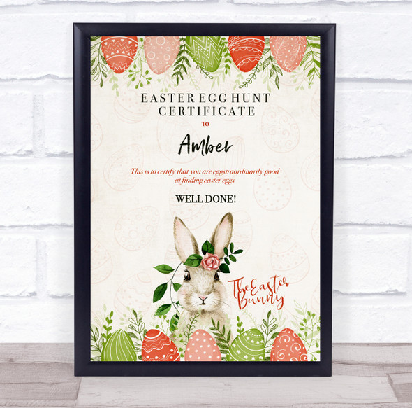 Vintage Easter Egg Hunt Personalised Certificate Award Print