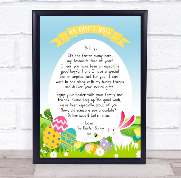 Easter Bunny Special Note In Egg Letter Certificate Award Print
