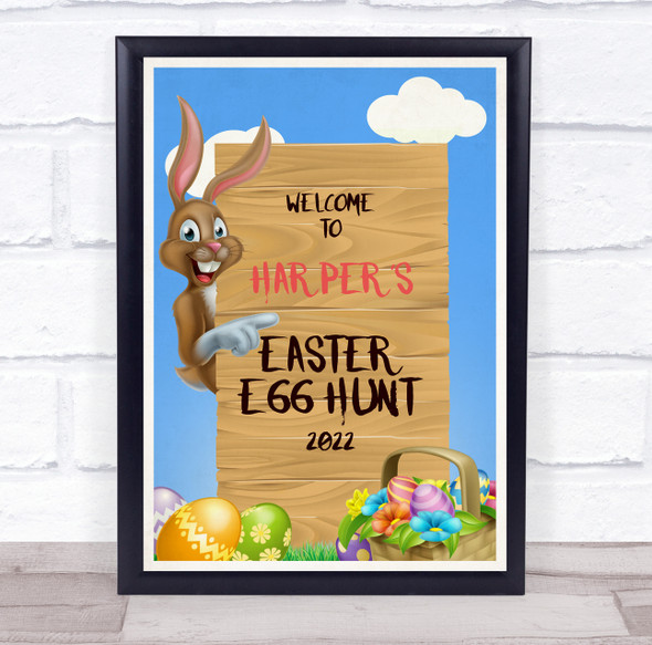 Personalised Welcome To Easter Egg Hunt Brown Easter Bunny Event Sign Print