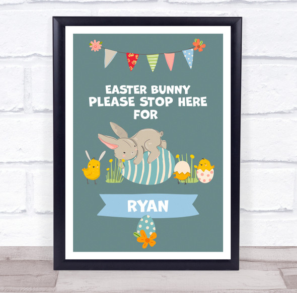 Personalised Easter Bunny Laying On Egg Please Stop Here Event Sign Print