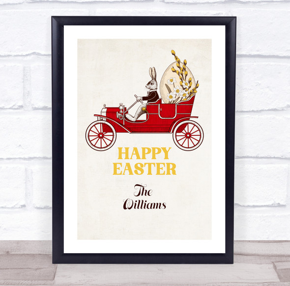 Personalised Retro Easter Bunny Driving Happy Easter Event Sign Print