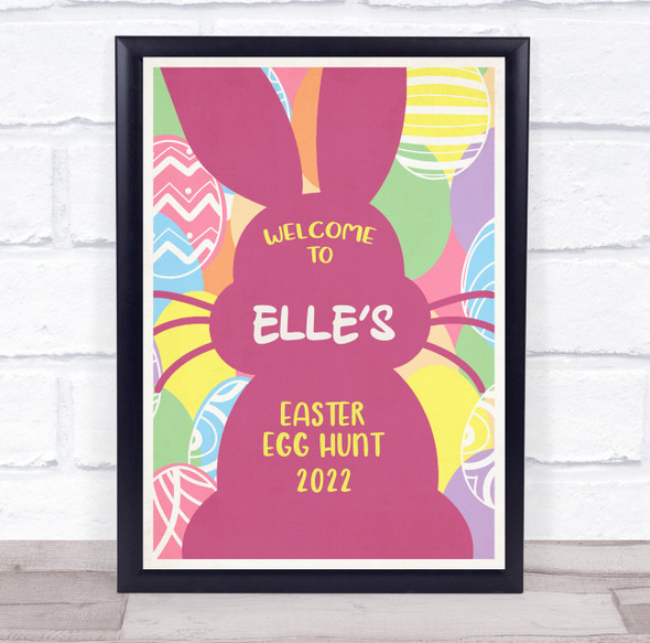 Personalised Welcome To Easter Egg Hunt Pink Bunny Event Sign Print