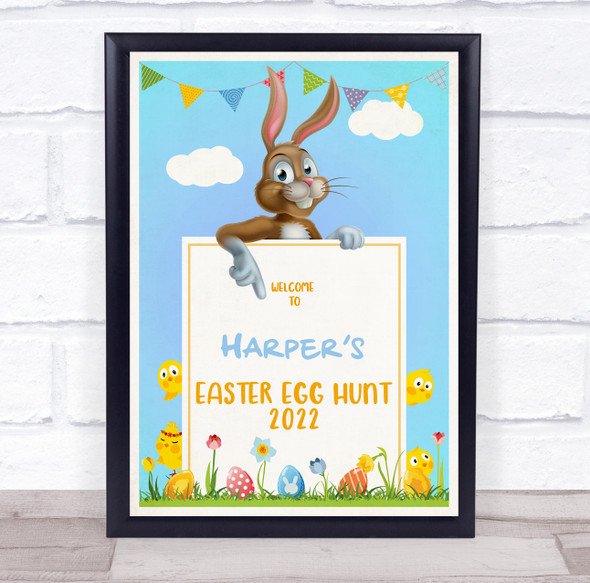 Personalised Blue Sky Welcome To Easter Egg Hunt Event Sign Print