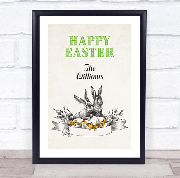 Personalised Retro Green Happy Easter Event Sign Wall Art Print