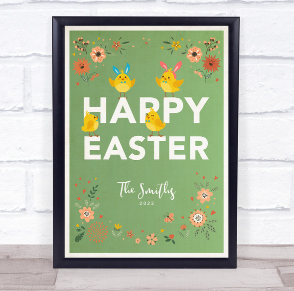 Personalised Family Name Happy Easter Green Event Sign Print