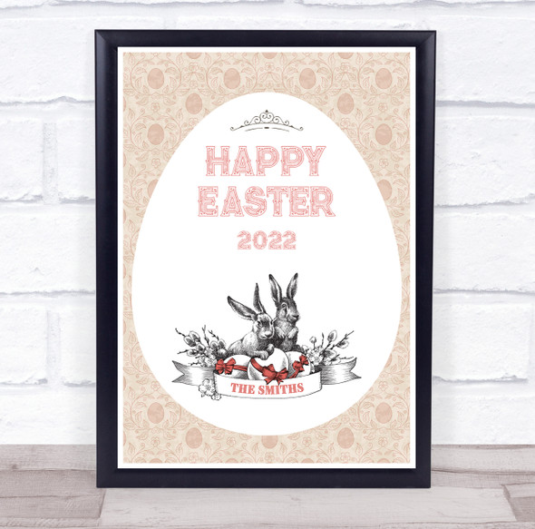 Personalised Family Name Happy Easter Peach Event Sign Print